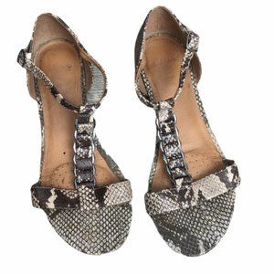 CLARKS Reptile-Like/Silver Strappy Sandals UK 4D